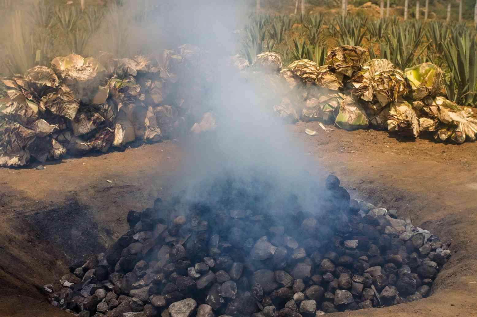 Quemado en el horno con piedras